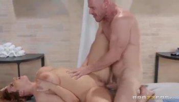 Striking milf with amazing big hooters Kiara Mia enjoys a hard fucking
